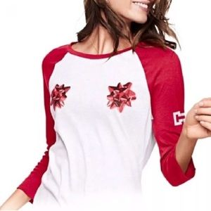 Victoria Secret PINK Christmas holiday bow shirt S